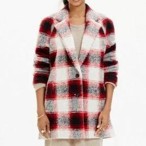 Madewell Plaid Depot Cocoon Coat M Wool Blend